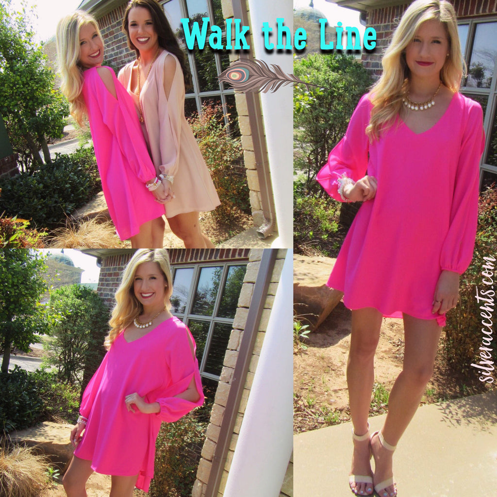 WALK THE LINE Slit Sleeve Chiffon HiLo Dress