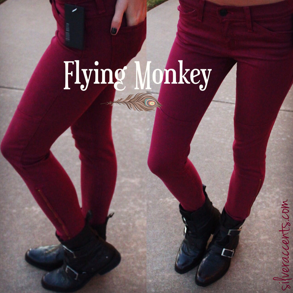 FLYING MONKEY Moto WINE AnkleZip Colored Skinny Jean