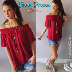 FREE PRESS Smocked OffShoulder Stretch Knit Top