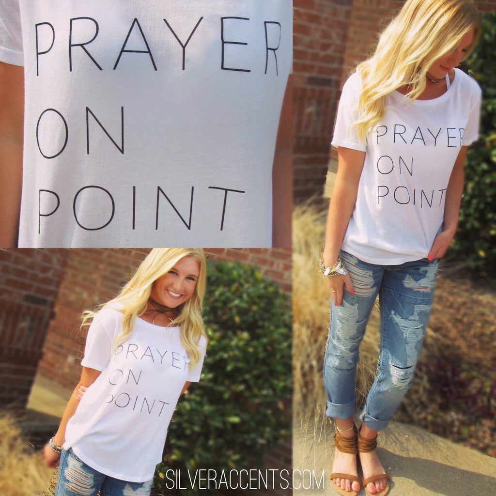 PRAYER ON POINT ScoopHem Graphic Tee Top