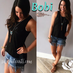 BOBI Distressed ABBOTT HiLo Slub Jersey Tank Top