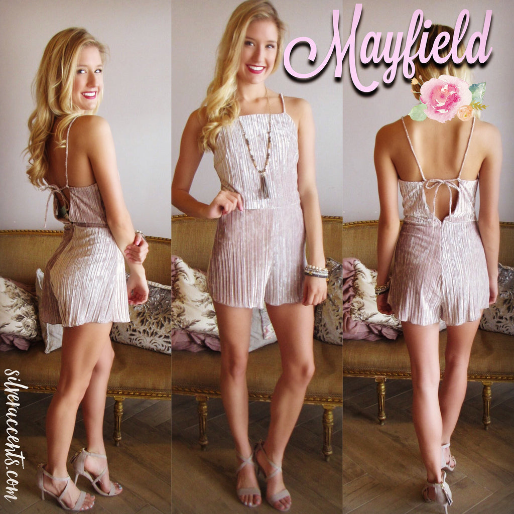 MAYFIELD Pleated Velvet Open Back Short Romper