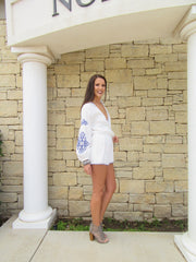 TEMECULA Embroidered Crossover Short Romper