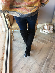 STUART Over The Knee TieBack Boots Shoes