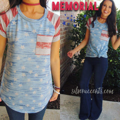 MEMORIAL Vintage FlagPrint Jersey Pocket Tee Top