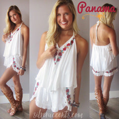 PANAMA Floral Embroidered Ruffled Short Romper