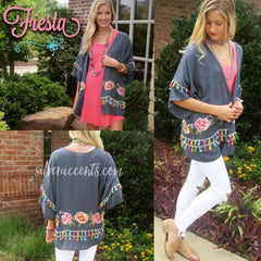 FIESTA Embroidered Floral Tassel Kimono Cardigan Top