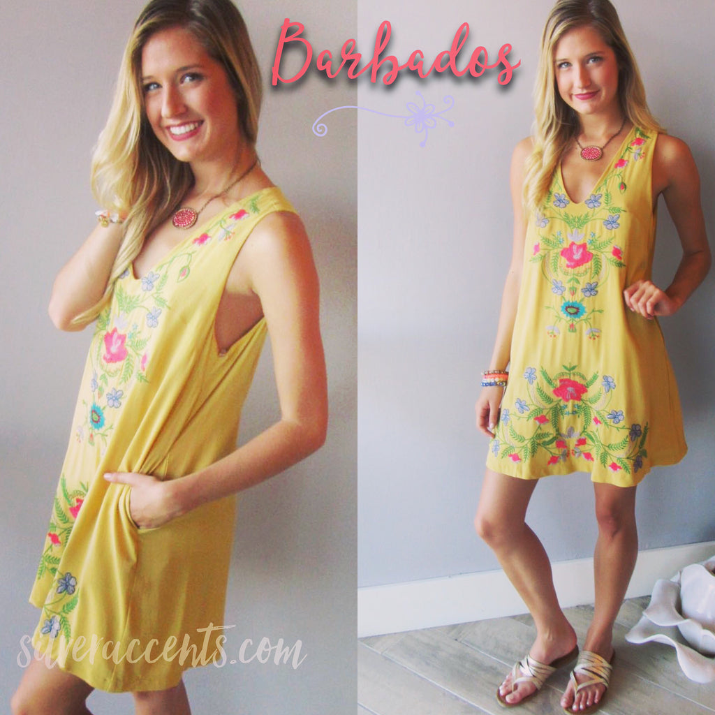 BARBADOS Floral Embroidered Linen V-Neck Pocket Dress