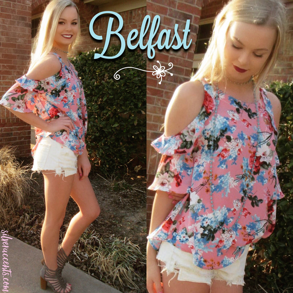 BELFAST Floral ColdShoulder Ruffled Top