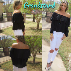 GRANDSTAND Matte Satin Ruffled OffShoulder Top