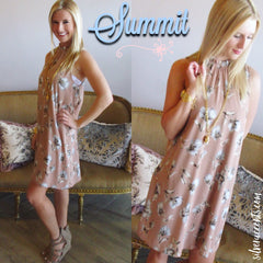 SUMMIT Floral Smocked HiNeck Chiffon Dress