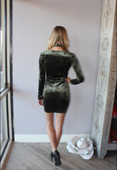 LADY LUCK Velour StrappyFront Bodycon Dress