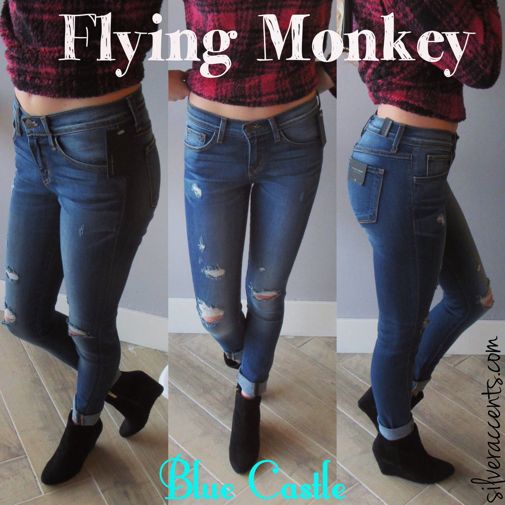 FLYING MONKEY Distressed BLUE CASTLE Midrise TwistSeam Skinny Jean