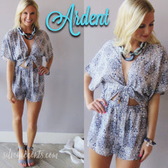 ARDENT Floral CutOut TieFront Short Romper