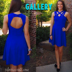 GALLERY Sequin StrappyFront Fit&Flare Dress