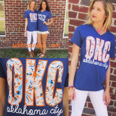 OKC Embroidery Print Oklahoma City V-Neck TriBlend Tee Top