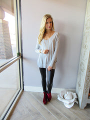 BOBI Heather Grey RibMix SEND MY LOVE V-Neck Knit Top