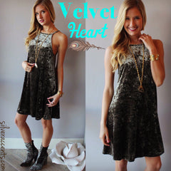 Olive VELVET HEART HiNeck Velour Cami Dress