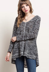 HIGHLIFE Marled Knit Hoodie Top