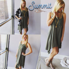 SUMMIT Crochet Bust Asymmetric Gauze Dress