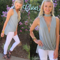 CLOSER ChokerNeck CrossOver Modal Jersey HiLo Top