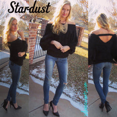 STARDUST Supersoft Fuzzy OffShoulder Sweater Top
