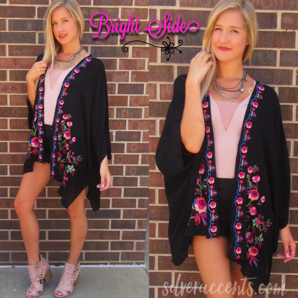 BRIGHT SIDE Embroidered Floral Kimono Cardigan