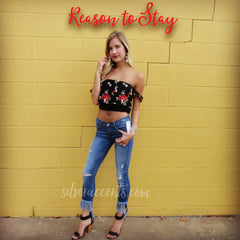 REASON TO STAY Embroidered Floral OffShoulder FlutterSleeve Crop Top