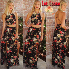 LET LOOSE Floral 2pc Halter CropTop Maxi Skirt Set