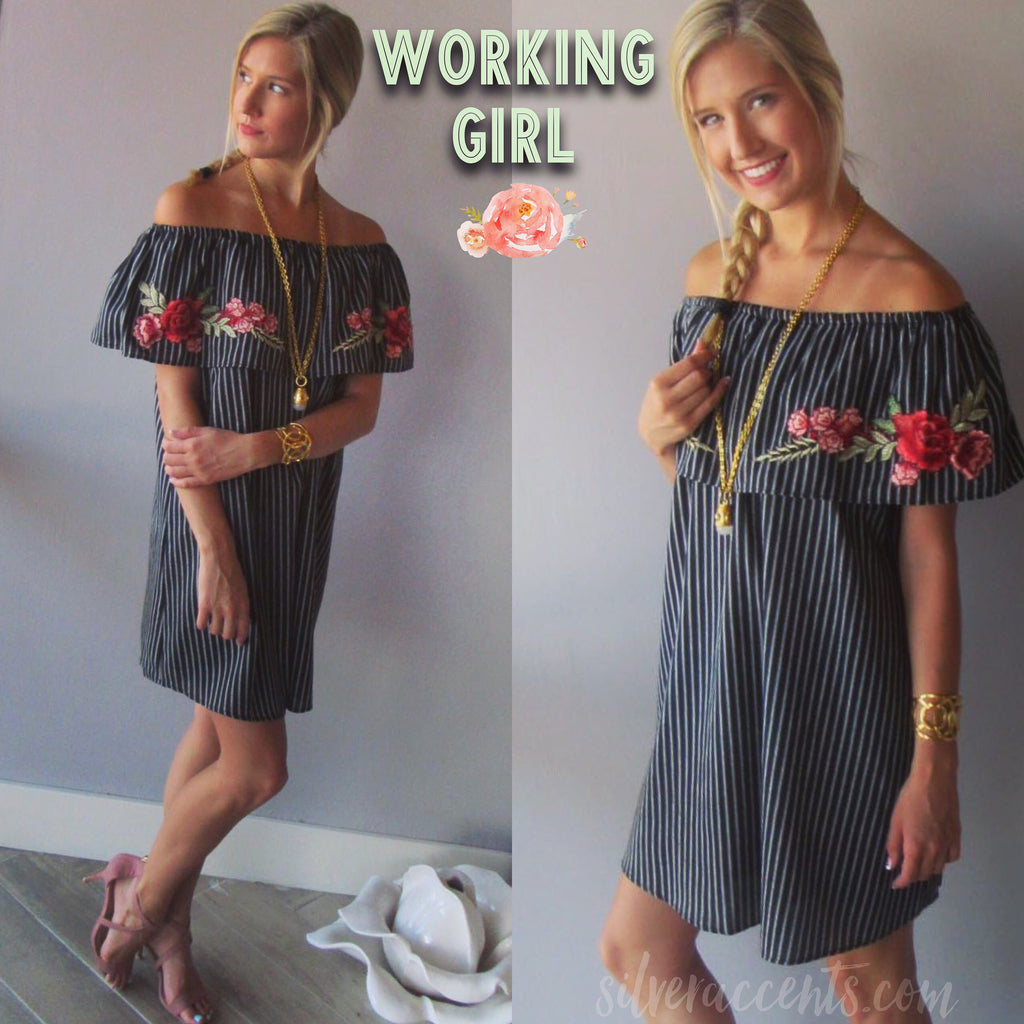 WORKING GIRL Pinstripe Embroidered Appliqué OffShoulder Dress