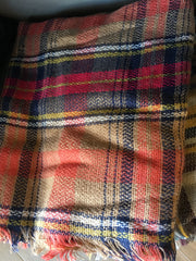 KATE Plaid Blanket Fringe Scarf