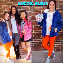 ARCTIC RUSH TwoTone Polar Fleece ZipUp Jacket Top
