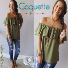 COQUETTE Ruffled OffShoulder Drapy Top