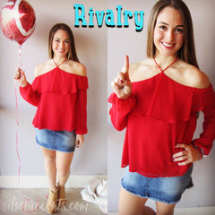 RIVALRY Ruffle Layer Halter Chiffon Top