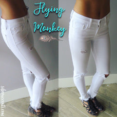 FLYING MONKEY Knee Slit WHITE FrayHem Skinny Jean