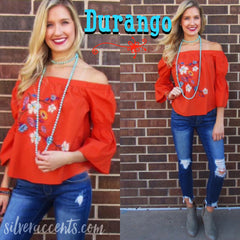 DURANGO Embroidered Floral OffShoulder Poplin Top