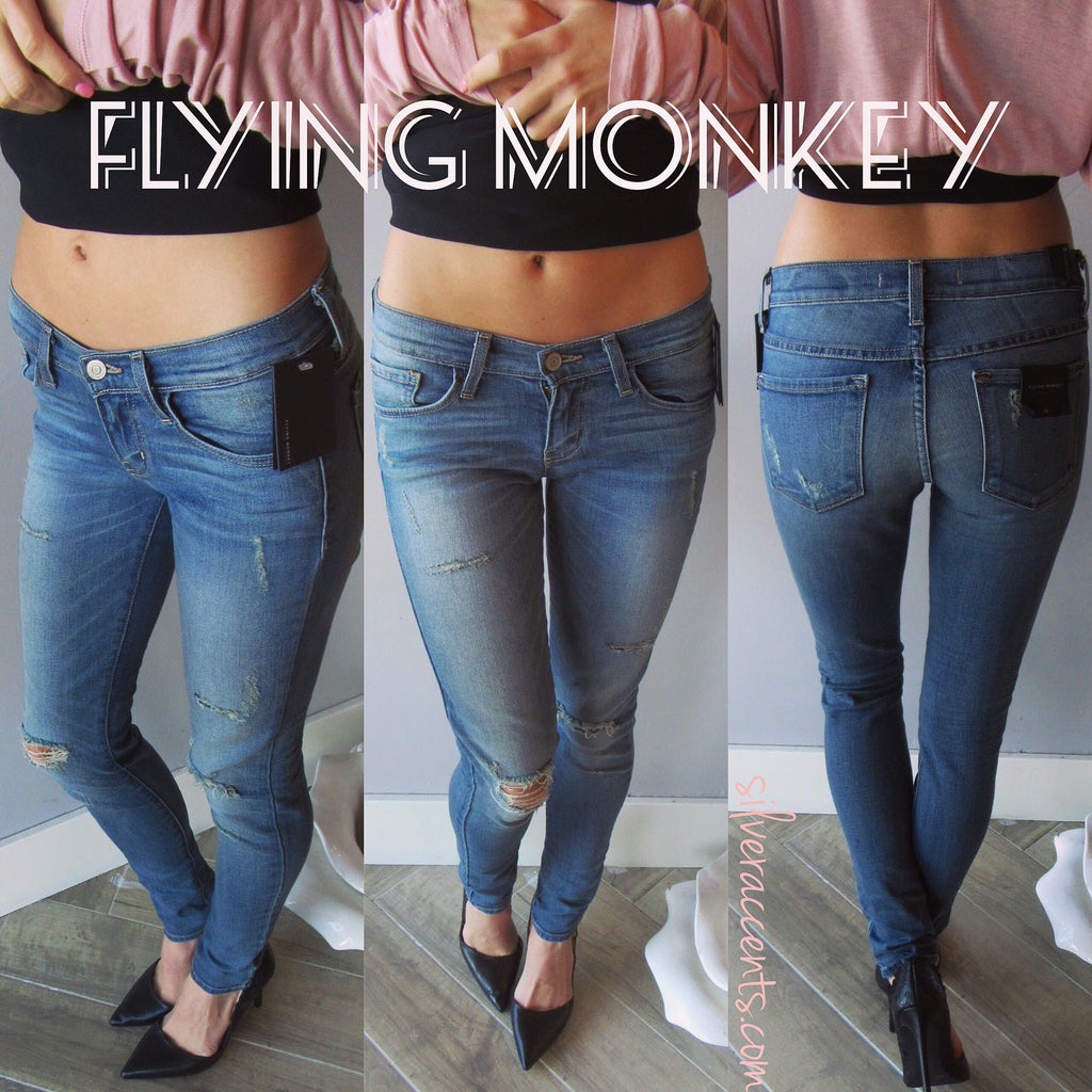 FLYING MONKEY Distressed SANDBAR BLUE Vintage Wash Skinny Jeans