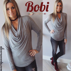 BOBI Mini Stripe LONDON FOG CowlNeck ScoopHem Top