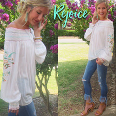 REJOICE Embroider Floral Smocked OffShoulder Tunic Top