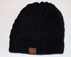 C.C. Black DREAMWEAVER BasketWeave Knit Beanie Hat