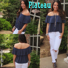 PLATEAU Ruffled OffShoulder Supersoft Tencel Jersey Top