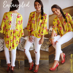 ENTANGLED Floral Crochet Back Crossover HiLo Top