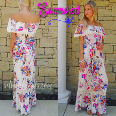 ENAMORED Floral Ruffled OffShoulder Maxi Dress