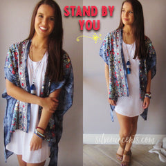 STAND BY YOU Floral Embroidered DipDye Kimono Cardigan Top