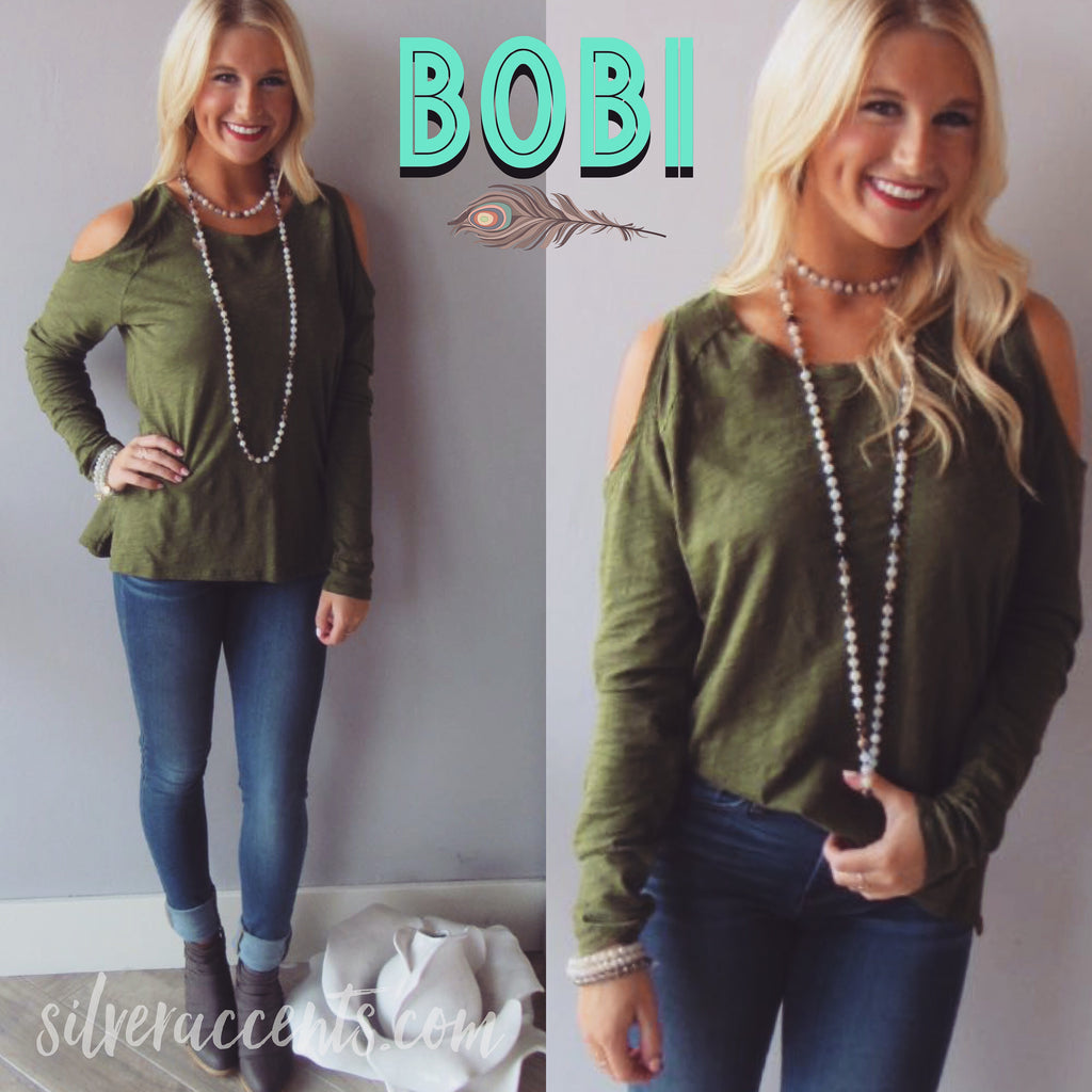 BOBI Slub Jersey LET IT BE ColdShoulder Top