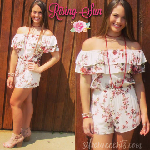 RISING SUN Floral Double Ruffled OffShoulder Short Romper