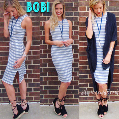 BOBI Stripe LABREA Slit Knit Tank Dress