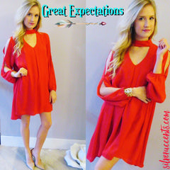 GREAT EXPECTATIONS Cutout Choker Neck Chiffon Slit Sleeve Dress