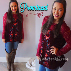 PROMINENT Embroidered Floral Velvet/Lace Top