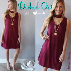 DECKED OUT Cutout Neck Suede Sheath Dress